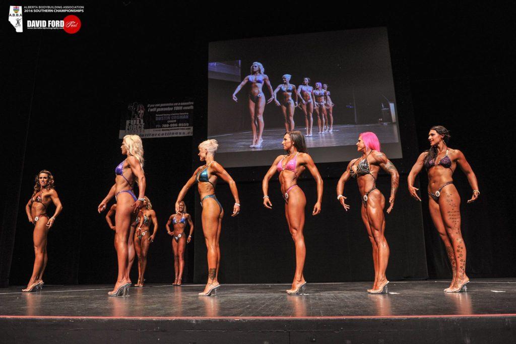 Bodybuilding competitors posing