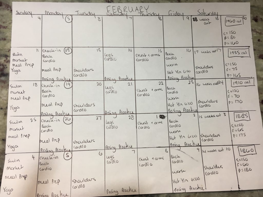 Dr. Mandy Monthly workout calendar